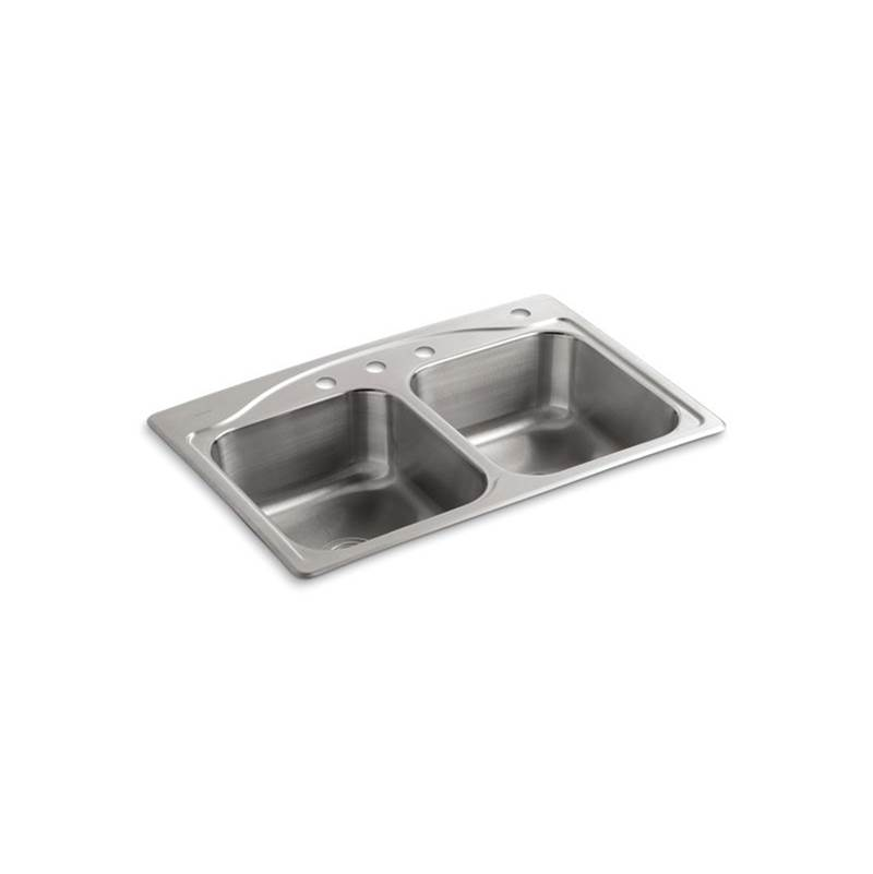 Kohler Cadence® 33'' x 22'' x 8-5/16'' top-mount double-equal kitchen sink with 4 faucet holes