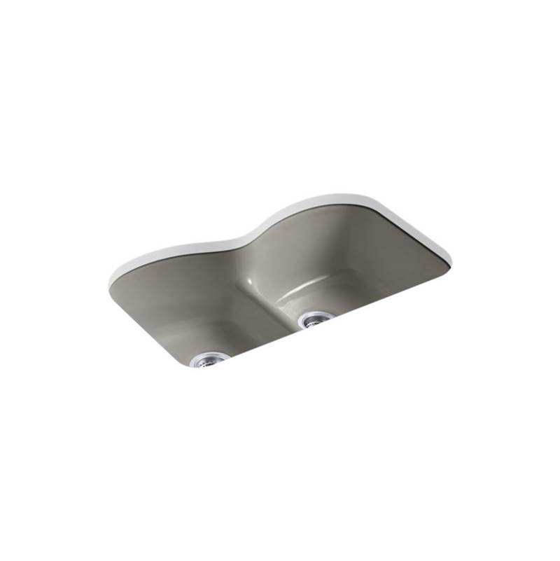 Kohler Langlade® 33'' x 22'' x 9-5/8'' Smart Divide® undermount double-equal kitchen sink with 6 oversize faucet holes