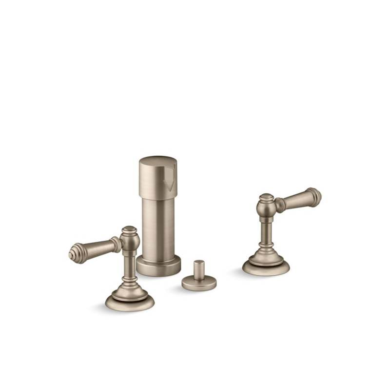 Kohler Artifacts® Widespread bidet faucet with lever handles