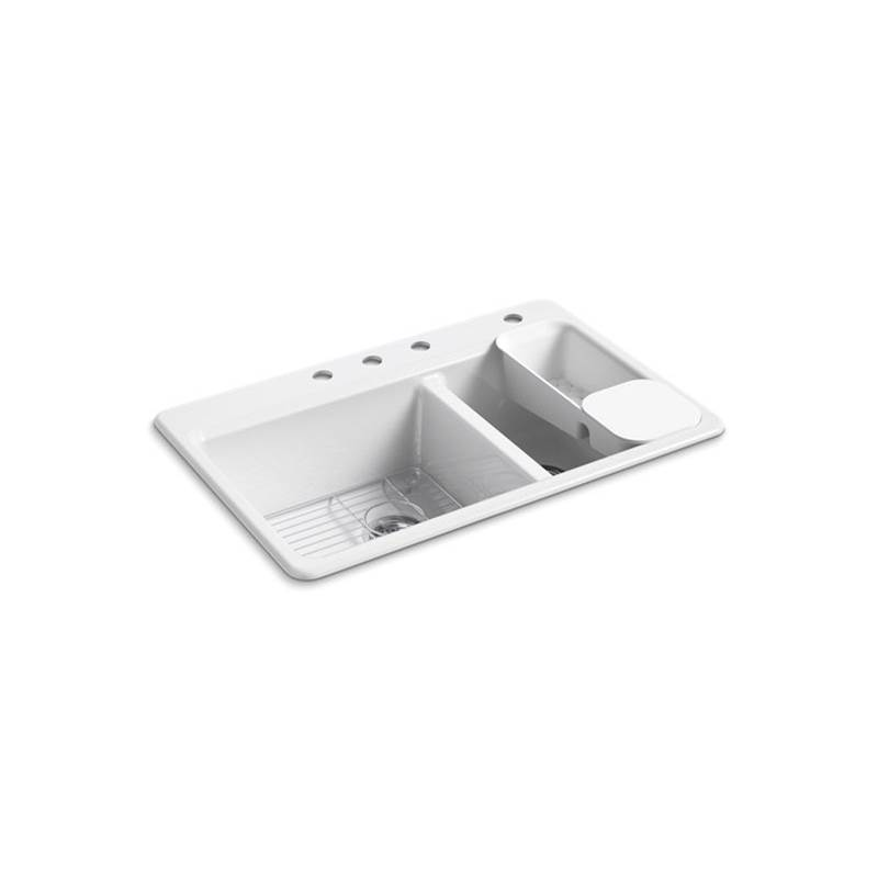 Kohler Riverby® 33'' x 22'' x 9-5/8'' top-mount large/medium double-bowl workstation kitchen sink with accessories and 4 faucet holes