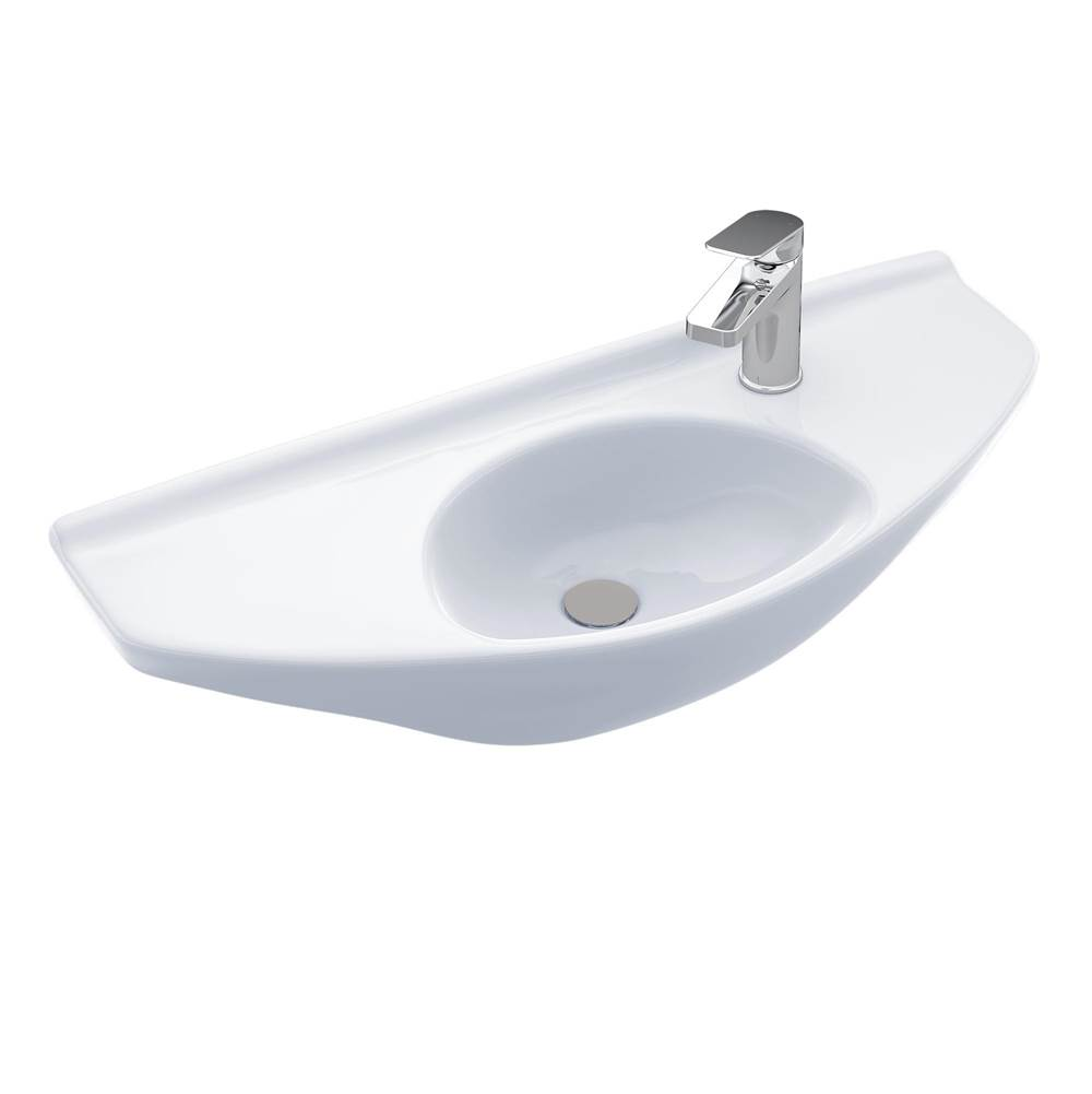 Toto Oval Wall-Mount Bathroom Sink with CEFIONTECT, Cotton White