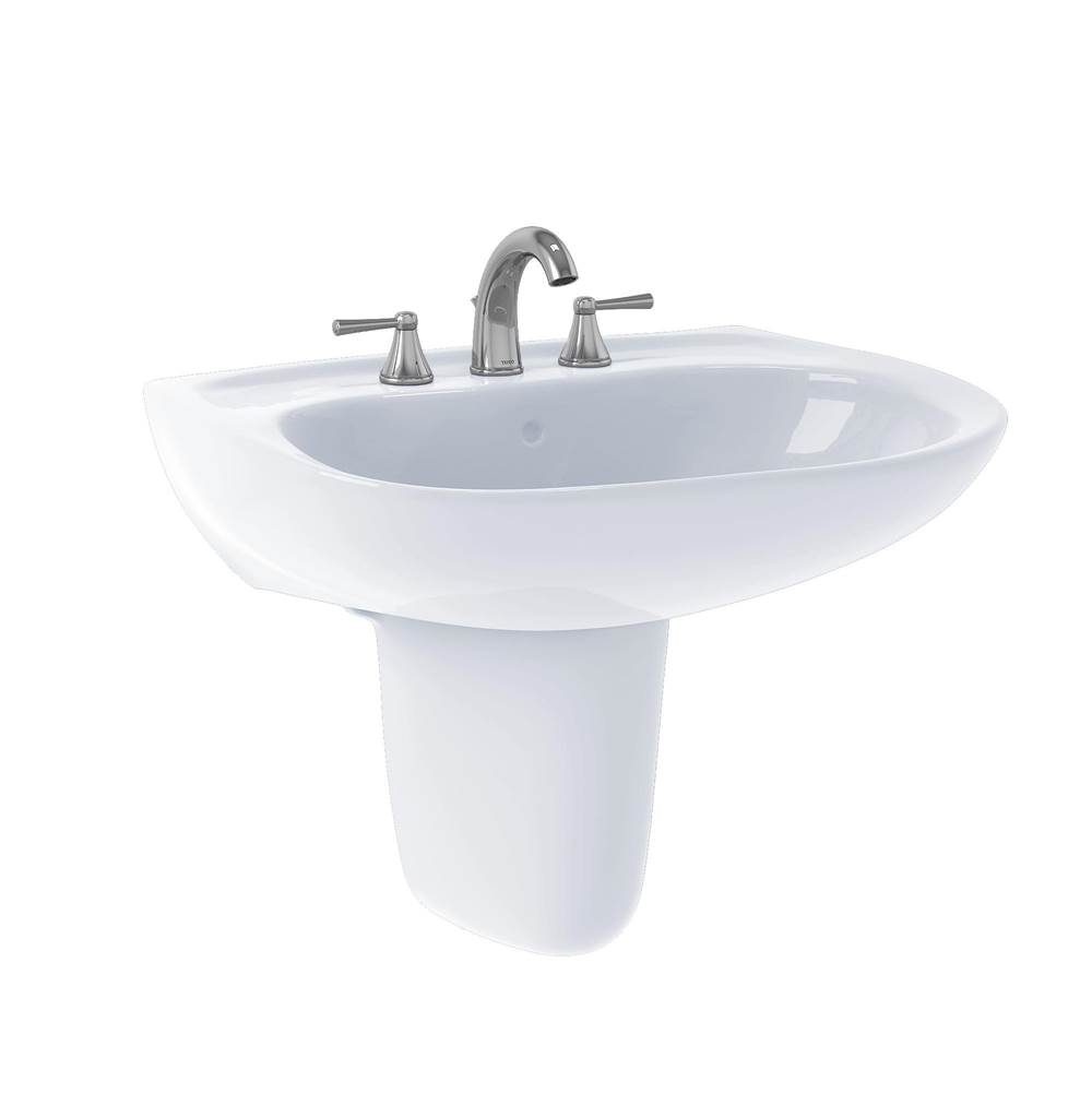 Toto Prominence® Oval Wall-Mount Bathroom Sink with CEFIONTECT and Shroud for 8 Inch Center Faucets, Cotton White