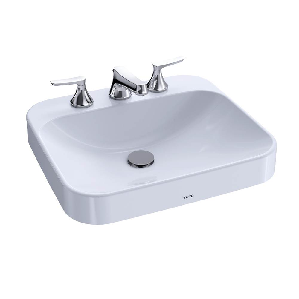 Toto Arvina™ Rectangular 20'' Vessel Bathroom Sink with CEFIONTECT for 8 Inch Center Faucets, Cotton White