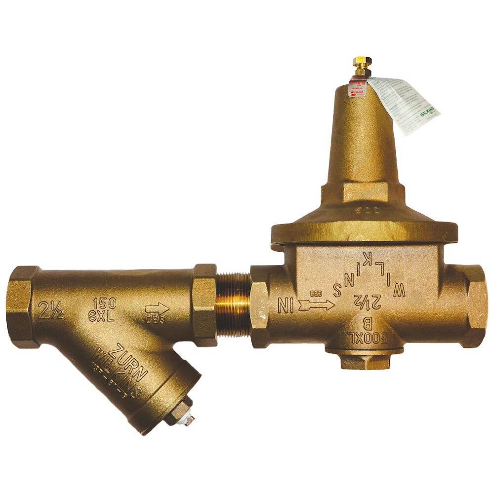 Zurn Industries 2-1/2'' 500XL Pressure Reducing Valve with Strainer with a spring range from 10 psi to 125 psi, factory set at 50 psi